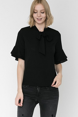 Ribbon Tie Neck 3/4 Sleeve Top (100% Polyester)