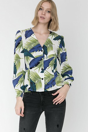 Tropical Leaf Top (100% Rayon)