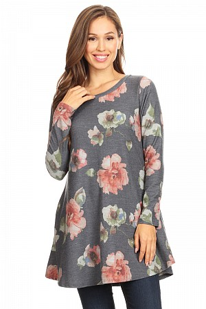 Floral print long body top in a relaxed,