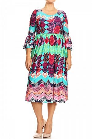 Abstract print, high waist, midi dress