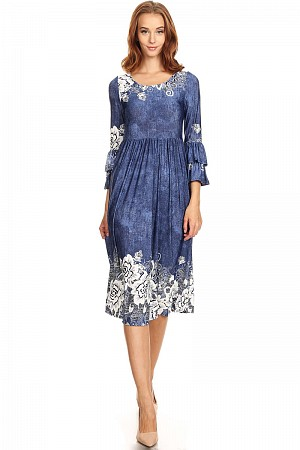 Border print, high waist, midi dress