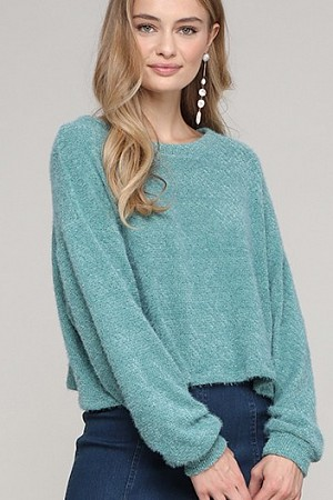 Round neck cropped texture kni ...