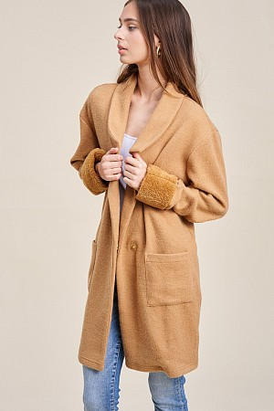 Knit Coat with faux fur cuffed ...