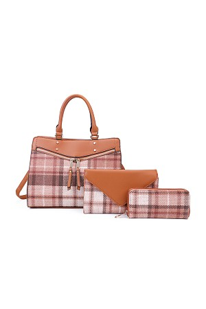 3IN1 TRENDY PLAID CHECK SATCHE ...
