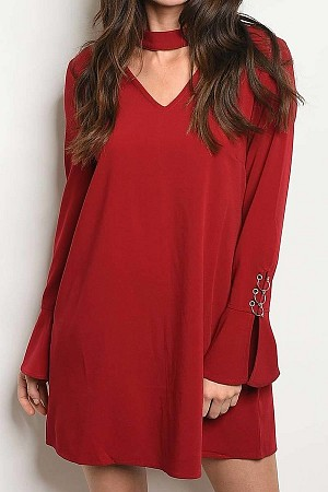 SOLID BELL SLEEVE CHOKER V NECK DRESS