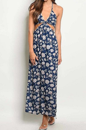 FLORAL PRINT V NECK HALTER MAXI DRESS