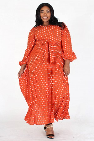 PLUS POLKA DOT LONG SLEEVE PLE ...