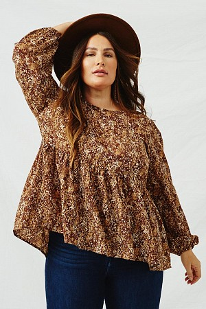 Plus Ditsy Print Long Sleeve B ...