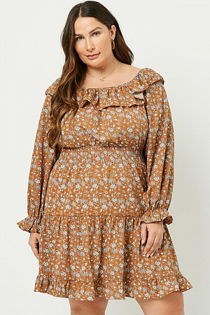 Plus Floral Ruffle Sleeve Mini ...
