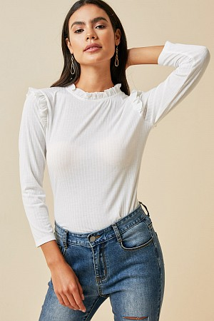 Ribbed Ruffle Mock Neck Top