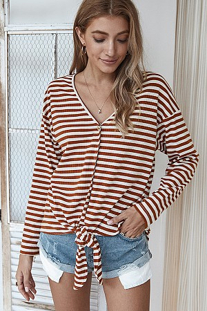 Striped Oversized V-Neck Top
