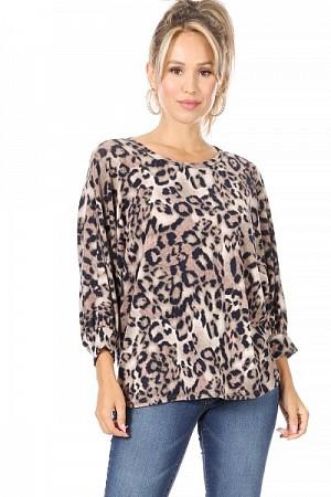 Plus size leopard sweater top